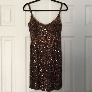 Vintage Black Tie Oleg Cassini Sequin Mini Dress